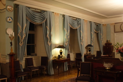 blue classic curtains at Kukshas manor
