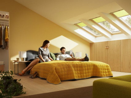 yellow blinds for Velux roof windows